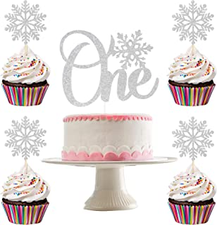 Silver Glittery Snowflake One Cake Topper and 24Pcs Glittery Snowflake Cupcake Toppers- Winter Wonderland 1st Birthday Dec...