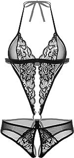 Avidlove Damen Tiefer V-Ausschnitt Halter Lingerie Bodysuit