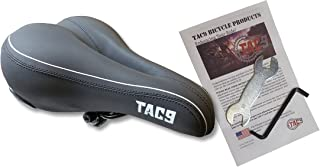 TAC 9 Bike Saddle/Seat - Comfort Airflow Hybrid Most Comfortable Vinyl - Unisex - Soft Touch - Comes with Tools and Detailed Instructions!