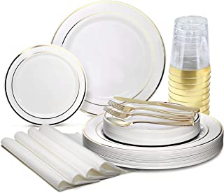 OCCASIONS 320pcs set (40 Guests)-Heavyweight Wedding Party Disposable Plastic Plate Set -40 x 10.5'' + 40 x 7.5'' + Silver...
