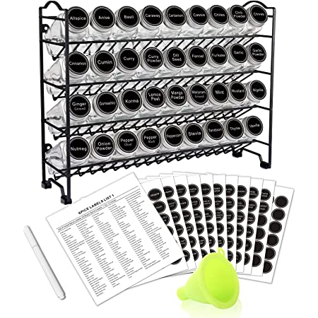 SWOMMOLY Spice Rack Organizer with 36 Empty Square Spice Jars, 396 Spice Labels with Chalk Marker and Funnel Complete Set, for Countertop, Cabinet or Wall Mount