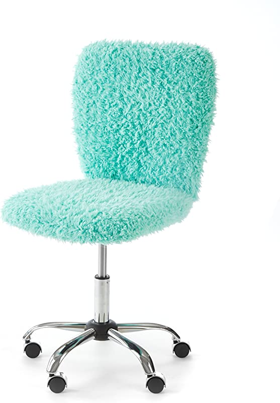 Urban Shop WK657594 Faux Fur Rolling Task Chair Mint