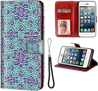 Case for iPhone 5C, Leather Wallet Cover with Stand Flip Protective Printing Design Maze Wrist Lanyard