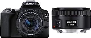 Canon EOS 200D II 24.1MP Digital SLR Camera + EF-S 18-55mm f4 is STM Lens (Black) with Canon EF50MM F/1.8 STM Lens