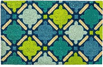 DII Natural Coir Fiber, 18x30 Entry Way Outdoor Door Mat with Non Slip Backing - Blue Mosaic
