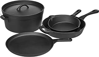 AmazonBasics Pre-Seasoned Cast Iron 5-Piece Kitchen Cookware Set, Pots and Pans