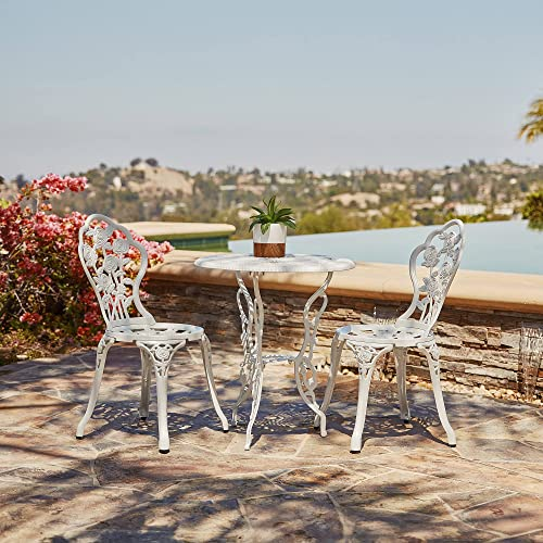 new arrival BELLEZE high quality Bistro Outdoor lowest 3 Piece Patio Set Rose Design Weather Resistant Round Table 2 Chairs White Cast Garden Furniture online