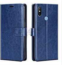 Xester® Vintage Leather Flip Cover Case Compatible with REDMI 6 PRO | Inner TPU | Foldable Stand | Magnetic Closure | Wallet Card Slots - Blue