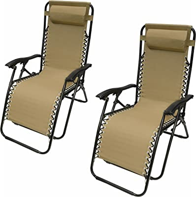ALEKO 2FLCH-SD Outdoor Patio Foldable Chaise-Longue Leisure Pool Beach Chair, Sand Color, Lot of 2