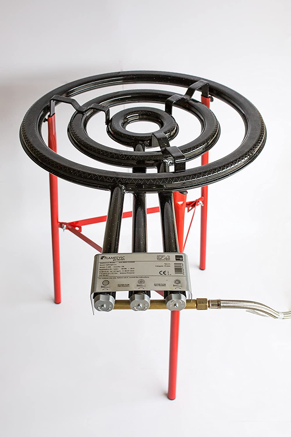 Paella Gas Burner and Stand Set Complete Paella Kit for up to 40 Servings Paella Pan Polished Steel