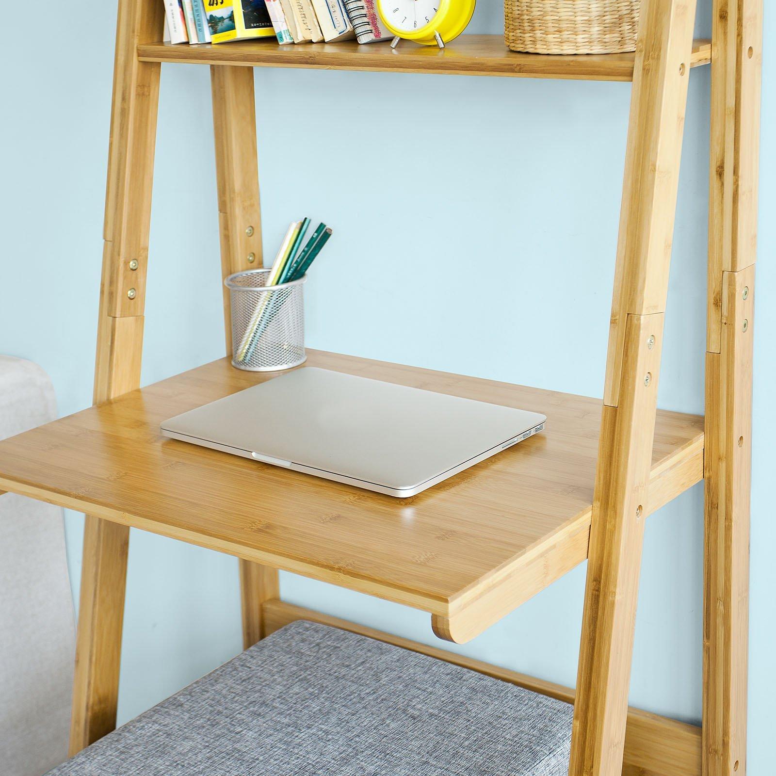 SoBuy® Estantería de Pared Escalera de bambú estantería de Escritorio estantería estantería de Escritorio FRG60-B-N: Amazon.es: Juguetes y juegos
