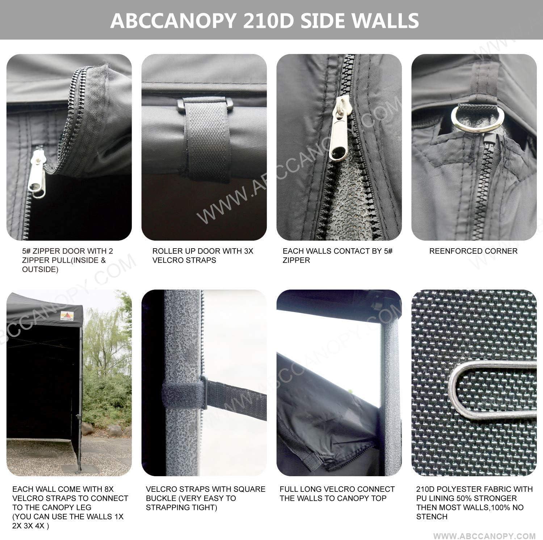 3x3, grigio scuro ABCCANOPY Gazebo pop-up 3x3 tende commerciali con 4 pareti laterali rimovibili e borsa per il trasporto