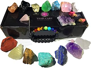 Tesh Care Chakra Therapy Starter Collection 17 pcs Healing Crystals kit, 7 Raw Chakra Stones,7 Colorful Gemstones, Amethyst,Rose Quartz Pendulum,Chakra Lava Bracelet,Dry Roses,Guide,COA,Gift Ready