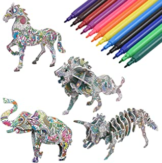 NATUCE 3D Colouring Puzzle Set for Kids, Arts and Craft for Girls and Boys, Educational Painting Craft Kit Jigsaw Toy Birthday Gift for 5-12 years old Kid with 4 Animal Puzzle and 12 Colouring Pens