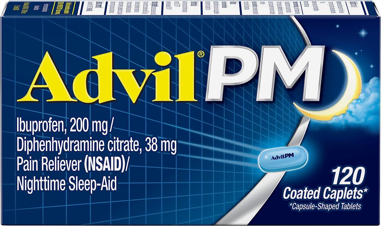 Amazon Com Advil Pm 120 Count Pain Reliever Nighttime Sleep Aid Coated Caplet 200mg Ibuprofen 38mg Diphenhydramine Health Household