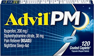 Advil PM (120 Count) Pain Reliever/Nighttime Sleep Aid Coated Caplet, 200mg Ibuprofen, 38mg Diphenhydramine
