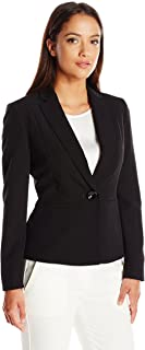 Women's Petite Size Stretch Crepe One Button Jacket