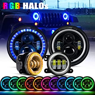 DOT Approved 7Inch Led RGB Halo Headlights Round Hi/Lo Beam Turn Signal DRL With Bluetooth Remote + 4Inch Front Bumper RGB Fog Lights For 2007-2017 Jeep Wrangler JK Rubicon JKU Sahara Sport Unlimited