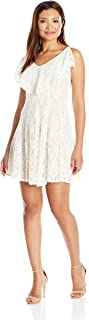 Women's Petite All Over Lace Fit and Flare Dress