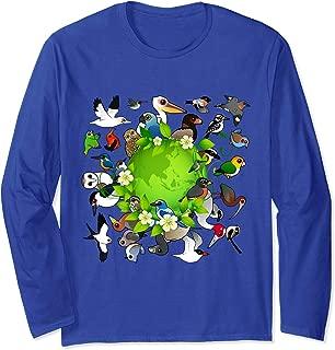 Flock of Cartoon Birds Around Earth | Earth Day Birdorable Long Sleeve T-Shirt