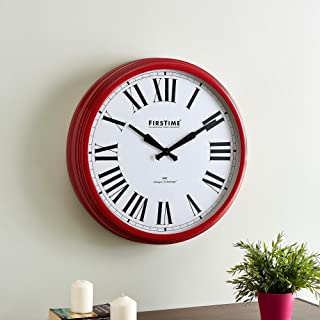 FirsTime & Co. Red Hamilton Whisper Clock, American Crafted, Satin Red, 22 x 3.75 x 22 ,