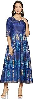 Aurelia Synthetic a-line Dress (19AUA10906-500841_Blue_M)