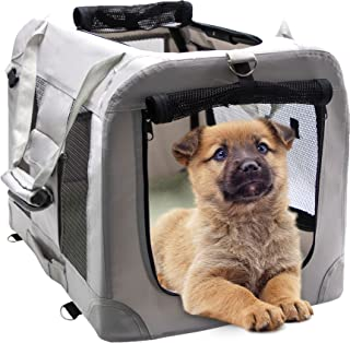 MIEMIE Soft Collapsible Dog Travel Crate Portable Dog Kennel with Straps and Mat, Pet Carrier - Great for Indoor and Outdo...