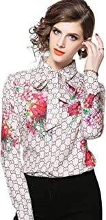 Women's Holiday Tie Neck Floral Print Shirt Casual Long Sleeve Blouse Top