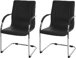 Set 2x sedie ufficio a slitta Samara acciaio ecopelle 56x60x96cm ~ nero