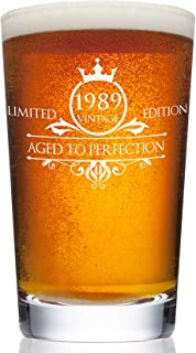 1989 30th Birthday Beer Pint Glass for Men or Women - Vintage Aged To Perfection Party Decorations – Funny Anniversary Gift Idea for Him, Her, Mom, Dad Husband or Wife – 16 oz Craft IPA Bar Mug