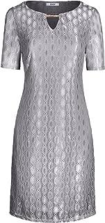 Women's Short Sleeve Boat Neck A Line Lace Overlay Shift Dress