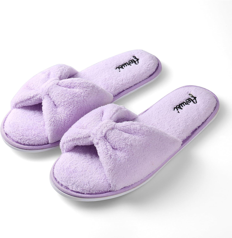 Aerusi SEL004037 Women's Indoor Home Bedroom Single Pair Slippers, USA Size 6 European Size 37, Purple