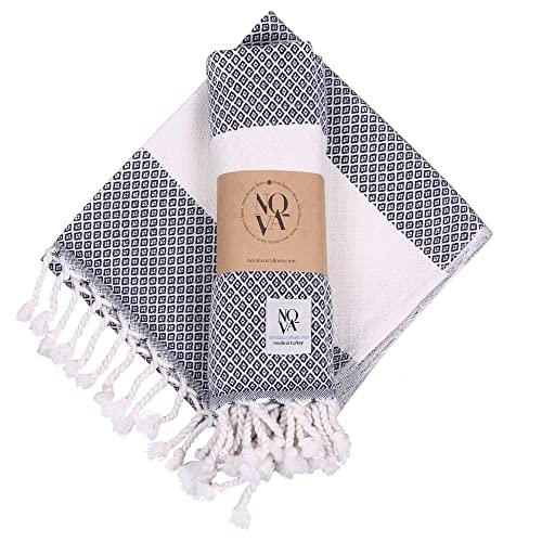 Nova Turkish Hand Towels - Set of 2 Turkish Towels for Bathroom, Gym, Kitchen, SPA - Extra Soft Cotton Bathroom Towels - 16 x 40-inch Decorative Peshtemal - Tassel Bath Towels (Navy)