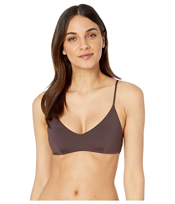 Volcom Simply Seam V-Neck Crop Top (Dark Chocolate) Women