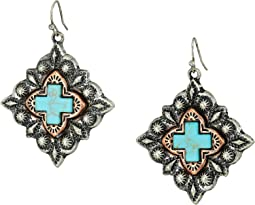 Diamond Shaped Turquoise Cross Earrings