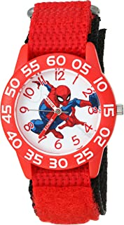 MARVEL Boys Spider-Man Analog-Quartz Watch with Nylon Strap, red, 19 (Model: WMA000188