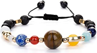 Adjustable Guardian Bracelet Beaded Gemstone Solar System The Nine Planets Stone Bracelet for Women Men
