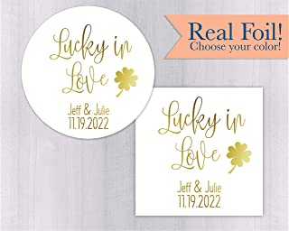 Lucky In Love Color Foiled Wedding Favor Sticker, Horseshoe Wedding Stickers, Rustic Wedding labels (#295-2-F)