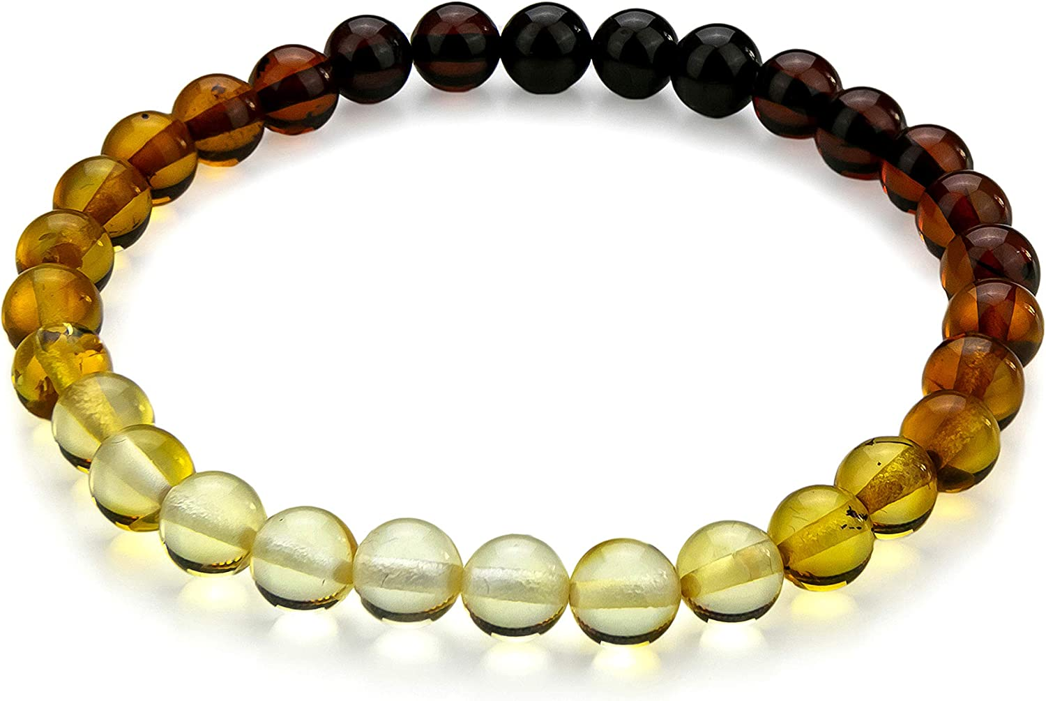Amber Stretch Rainbow Bracelet - Natural Charm Bangle Baltic Resin Multi Color 6+ mm Beads - in a Gift Box - Amber Culture
