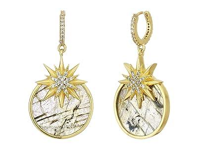 SOLE / SOCIETY Intergalactic Huggie Drop Earrings (12K Soft Polish Gold/Crystal/Labradorite) Earring