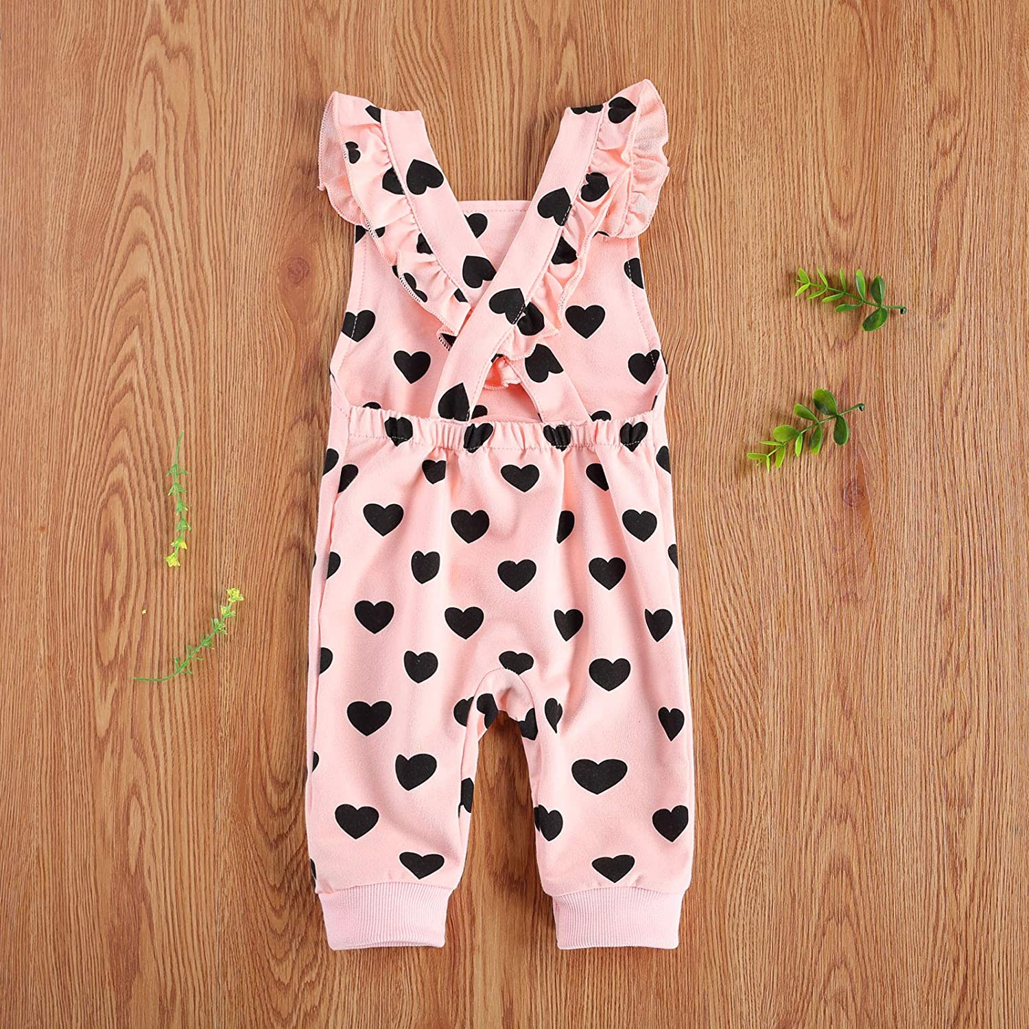 VIENNAR Cute Toddler Baby Heart Printed Overalls Ruffled Rompers Infant Newborn Suspender Pants with Buttons Pocket