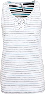 Sublevel Women's Striped Top with Drawstring Ties | Lightweight Women's Top with Print