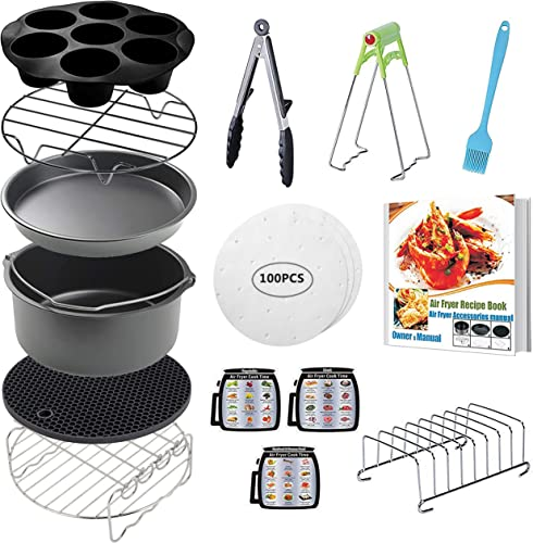 lowest CAXXA 15 PCS 8 Inch XL Air Fryer Accessories, Deep Fryer Accessories with Recipe discount outlet online sale Cookbook Compatible with Growise Phillips Cozyna Fits All 4.2QT - 5.8QT Air Fryer online sale