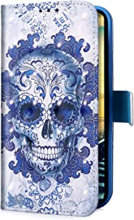 Uposao Compatibel met Sa Huawei P Smart Plus 2019 Skull Blue Flower