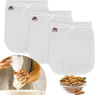 "Mericka- Pack of 3 Pro Quality Nut Milk Bag - Big 12""X12"" Commercial Grade 100% Pure Nylon- Reusable Almond Milk Bag & All..."