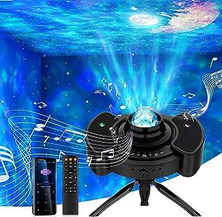 【リモコン・音声制御式】星空ライト プロジェクターライト プラネタリウム 家庭用 オルゴール Bluetooth/USBメモリに対応 14種点灯モード タイマー機能付き 星・月・雲の組合と色/輝度/音量調整可 ロマンチック雰囲気作り クリスマ...