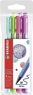 Stabilo PointMax Fineliner Nylon-tip Pen, Bright Colors, 0.8 mm - 4 Pen Set