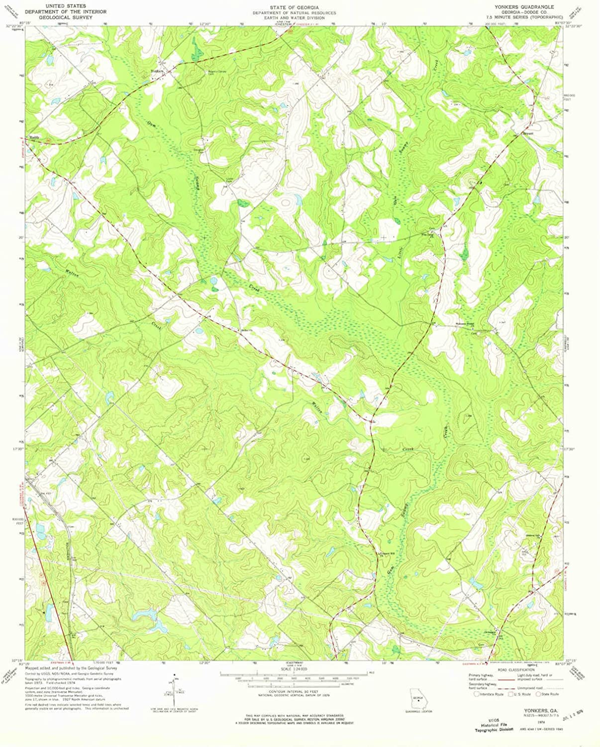 Yonkers GA topo map, 1 24000 Scale, 7.5 X 7.5 Minute, Historical, 1974, Updated 1976, 27 x 21.8 in