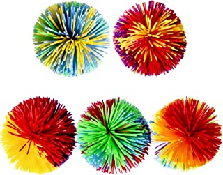 Trooer 5 Pack Monkey Stringy Balls, Soft Active Sensory Stress Balls Fun Toys, Rainbow Pom Bouncy Squishy Balls Colorful Fidgets Toys