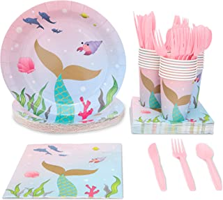 Juvale 144 Piece Mermaid Party Pack (Serves 24 Guests) Plates, Napkins, Cups, Forks, Spoons and Knives
